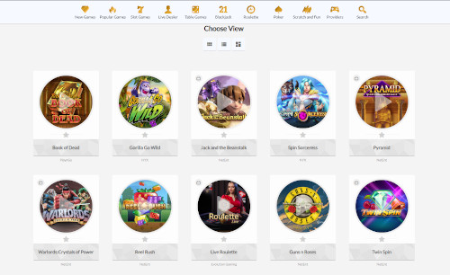 Temple Nile Casino Game Selection
