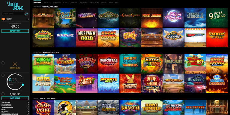 VoodooDreams Casino Homepage Screenshot