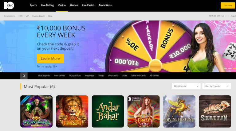 10Cric Casino Homepage Screenshot