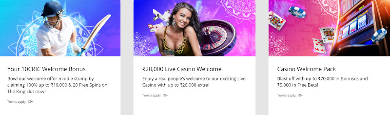 10Cric Casino Welcome Bonuses