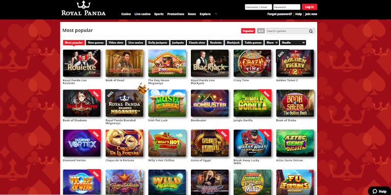 Royal Panda Casino Game Selection