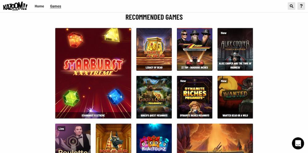 Kazoom casino game selection