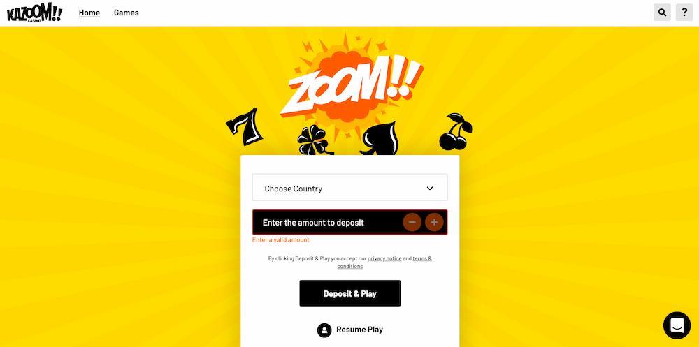 Kazoom casino interface
