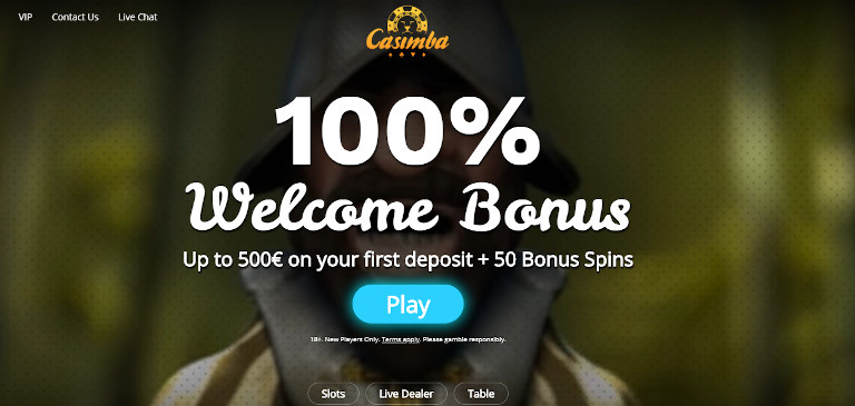 Casimba Online Casino India Homepage Welcome Offer