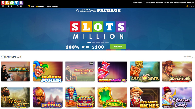 Slotsmillion Casino India Homepage Screenshot