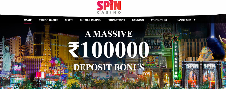 Spin Casino India Welcome Offer Homepage