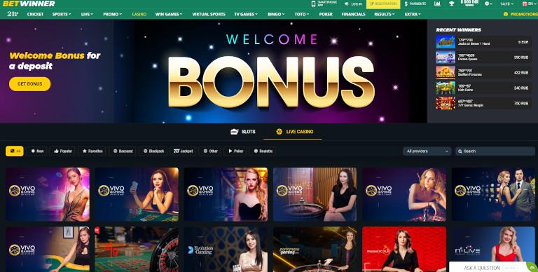 Betwinner India Homepage
