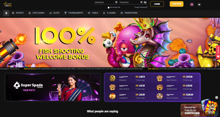 Jeetwin Casino India Homepage Screenshot showing Welcome Bonus