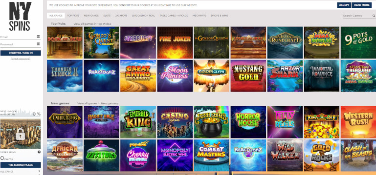 NY Spins Casino India Game Selection