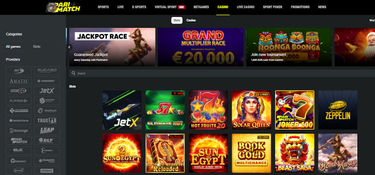 Parimatch Casino India Game Selection Slots