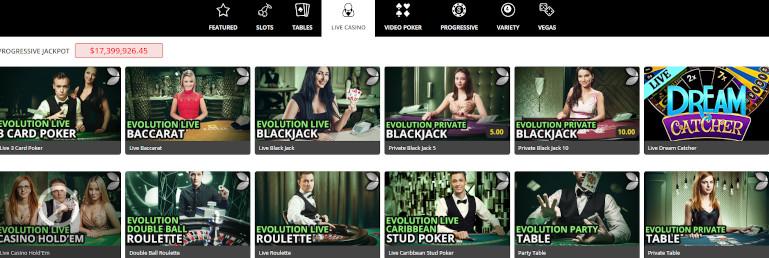 Royal Vegas Casino India Live Casino Selection