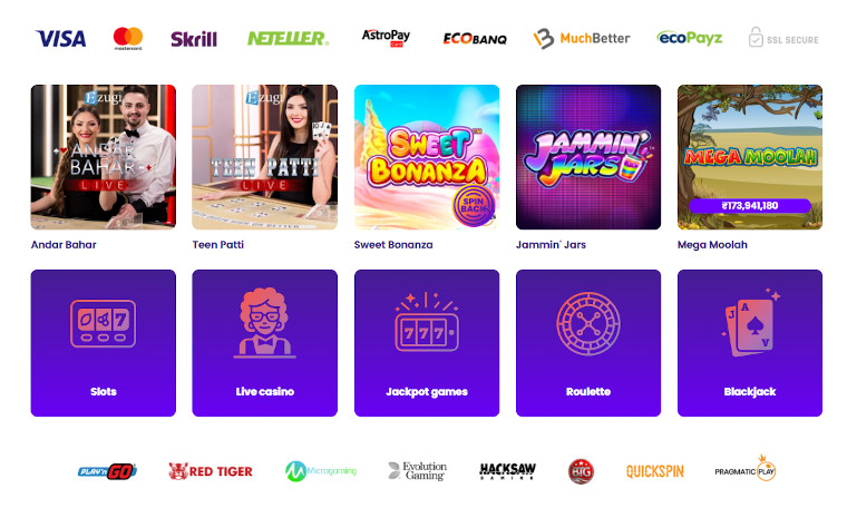Wildz Casino India Game Selection, Providers and Payment Methods