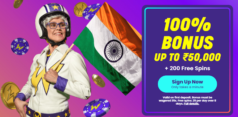 Wildz Casino India Homepage Screenshot with Welcome Offer