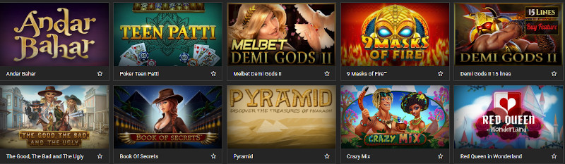 Melbet Casino India Game Selection
