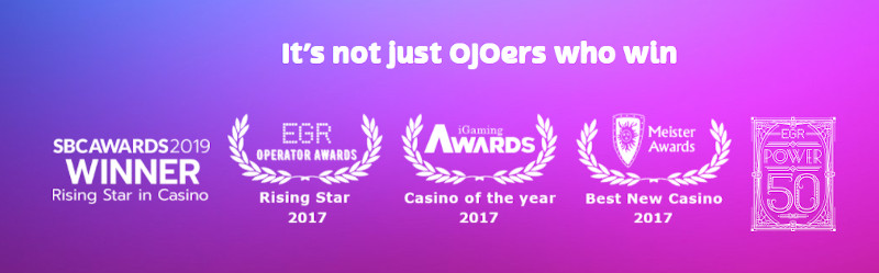 PlayOjo Casino India Awards won by the casino and platform