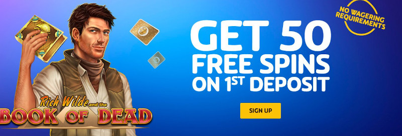 PlayOjo Casino India Welcome Bonus showing Wager Free Free spins on Book of Dead