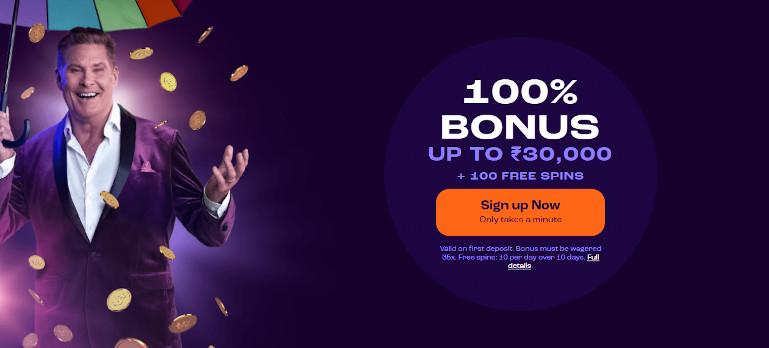 Wheelz Casino India Welcome Bonus and David Hasselhoff