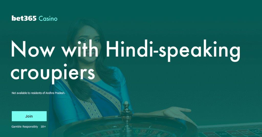 """Banner with text """"Now with Hindi-speaking Croupiers"""" and a Live dealer in background for Jhandi Munda"""