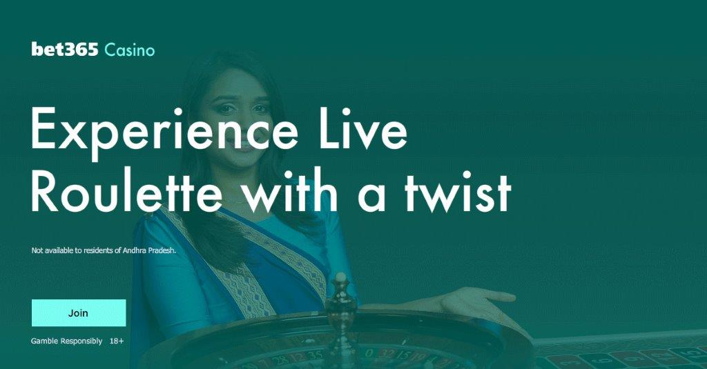 "Banner with text ""Experience Live Roulette with a twist"" and a Live dealer in background"